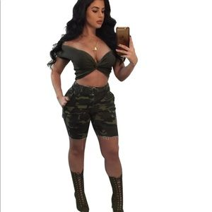 Pants - Camouflage two piece crop top set